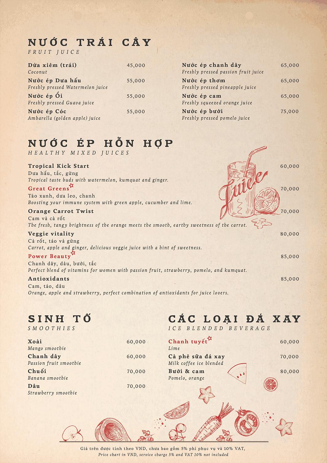 menu nước uống nhà hàng maison mận đỏ