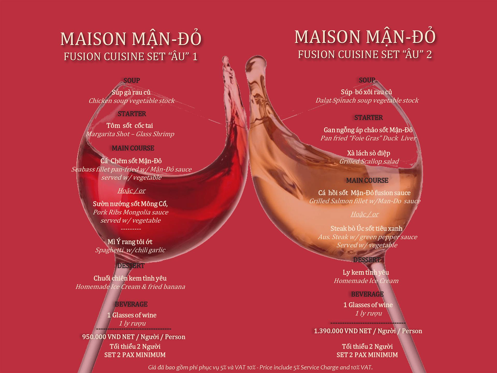 Set menu Âu tại Maison Mận-Đỏ